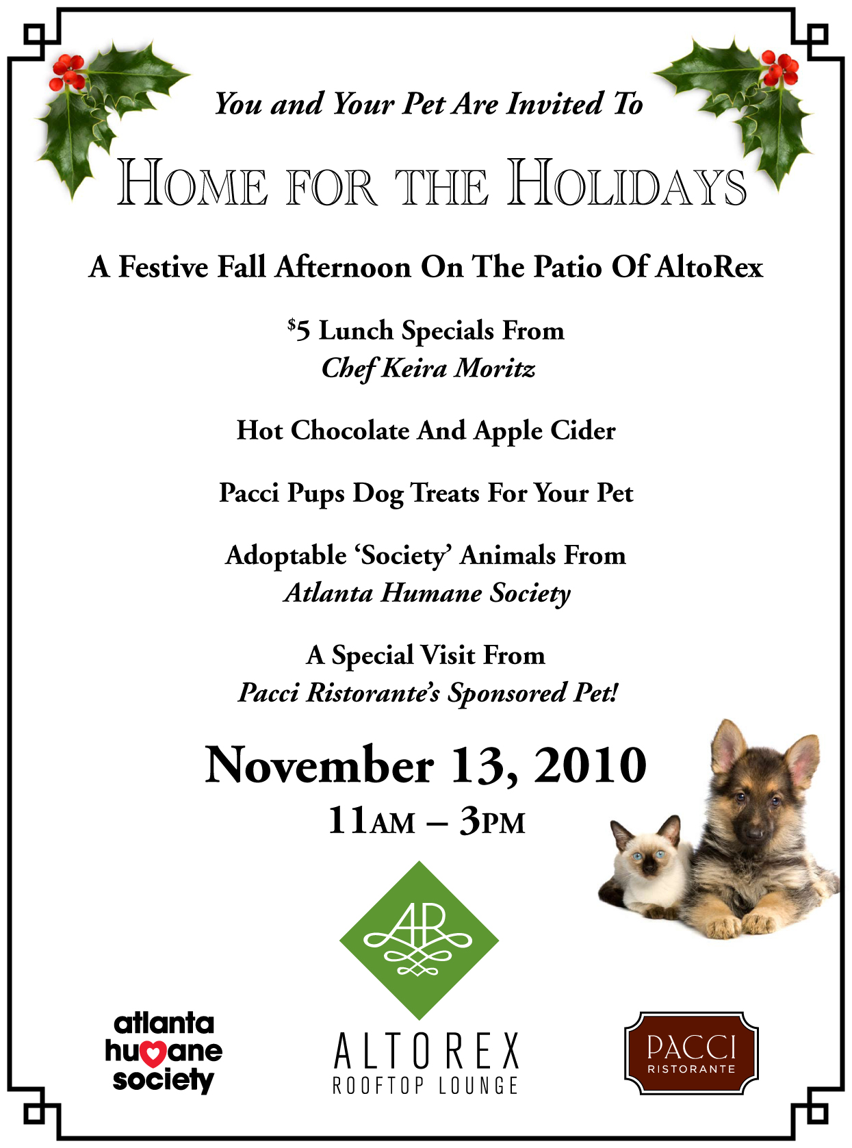 "#288 – Midtown's Pacci Ristorante Helps Homeless Pets Find a ""Home for the Holidays"" – Saturday, November 13, 2010"