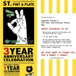 #346 – Cypress Street Pint & Plate 3-Year Anniversary Party Tomorrow Night – Tuesday, January 25, 2011
