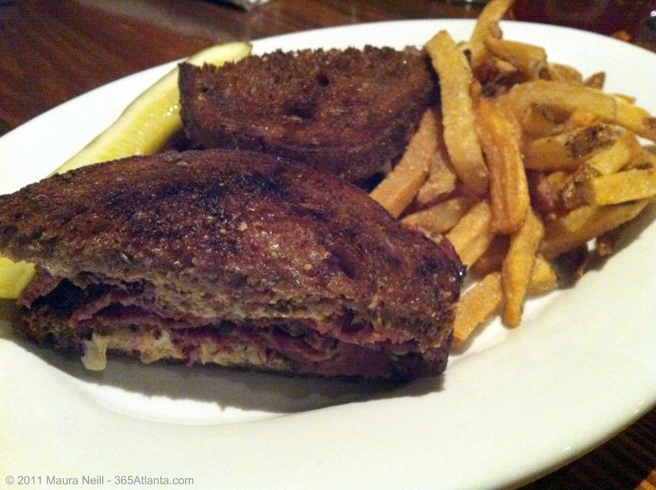 ... Muenster cheese on grilled pumpernickel, served with French fries ($8